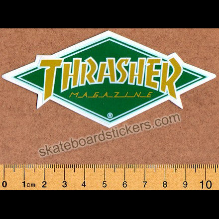 Thrasher Magazine Diamond Logo Old School Skateboard Sticker - green
