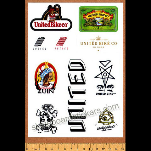 United Bikes BMX Sticker Sheet - 10 Stickers