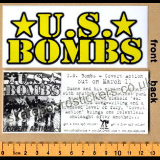 US Bombs Punk Rock Metal Music Band Skateboard Sticker - SkateboardStickers.com