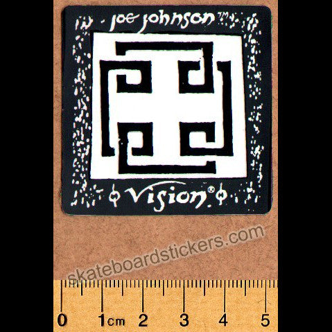 Vision Old School Joe Johnson Skateboard Sticker - orange to yellow