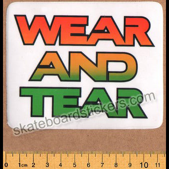 Wear and Tear Skateboard Sticker - Type