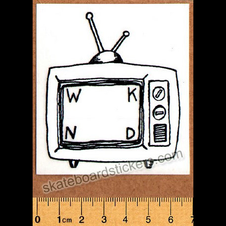 WKND Skateboards TV Black Logo Skateboard Sticker