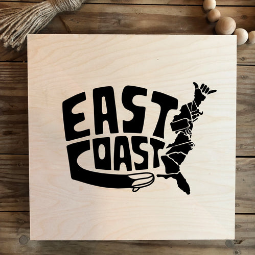 East Coast State of Shaka Wood Print