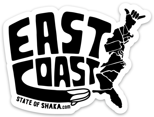 East Coast State of Shaka Sticker