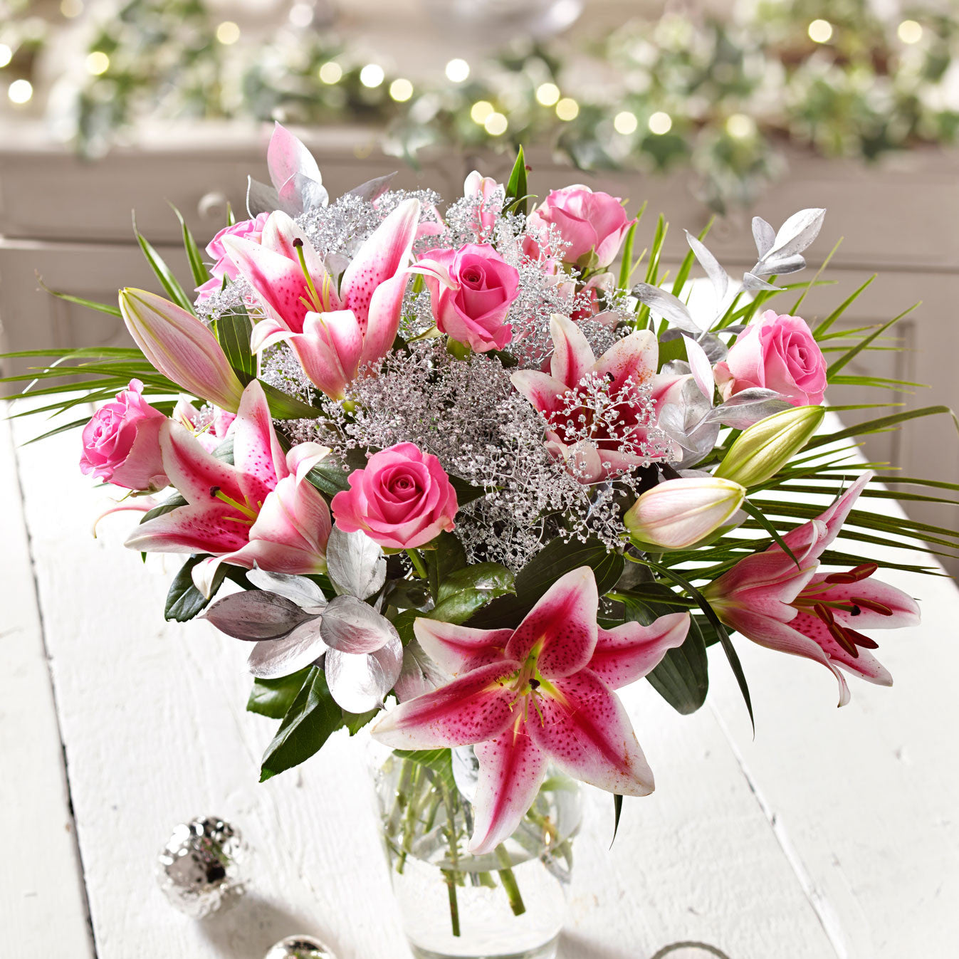Cheap rose lily shimmer flower bouquets next day delivery rose lily shimmer izmirmasajfo