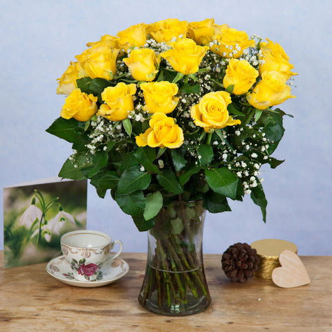 Yellow Roses & Gypsophila