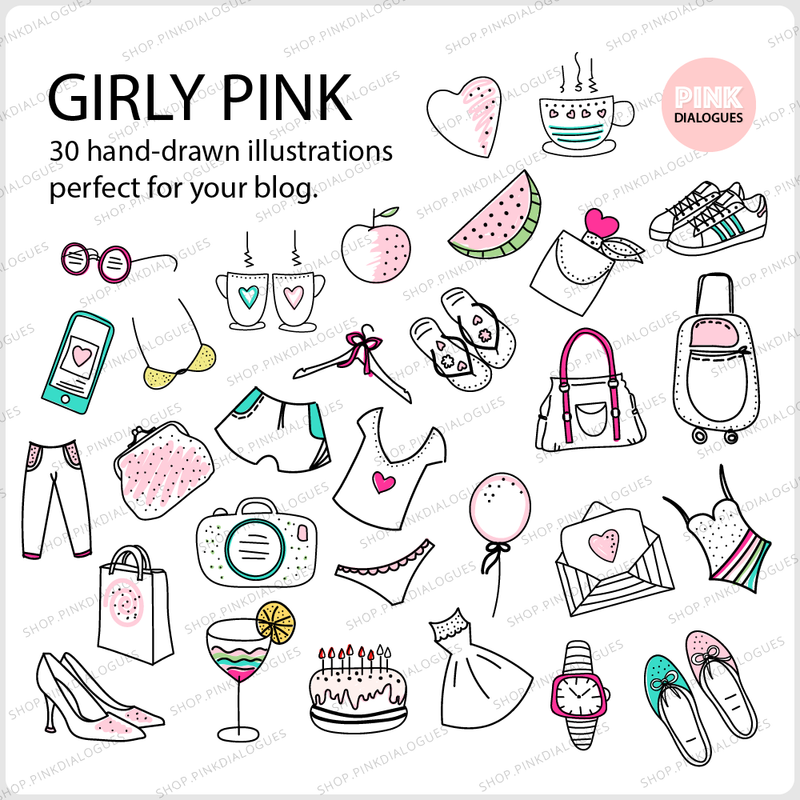 30 GIRLY PINK CLIPART (Instant Download)