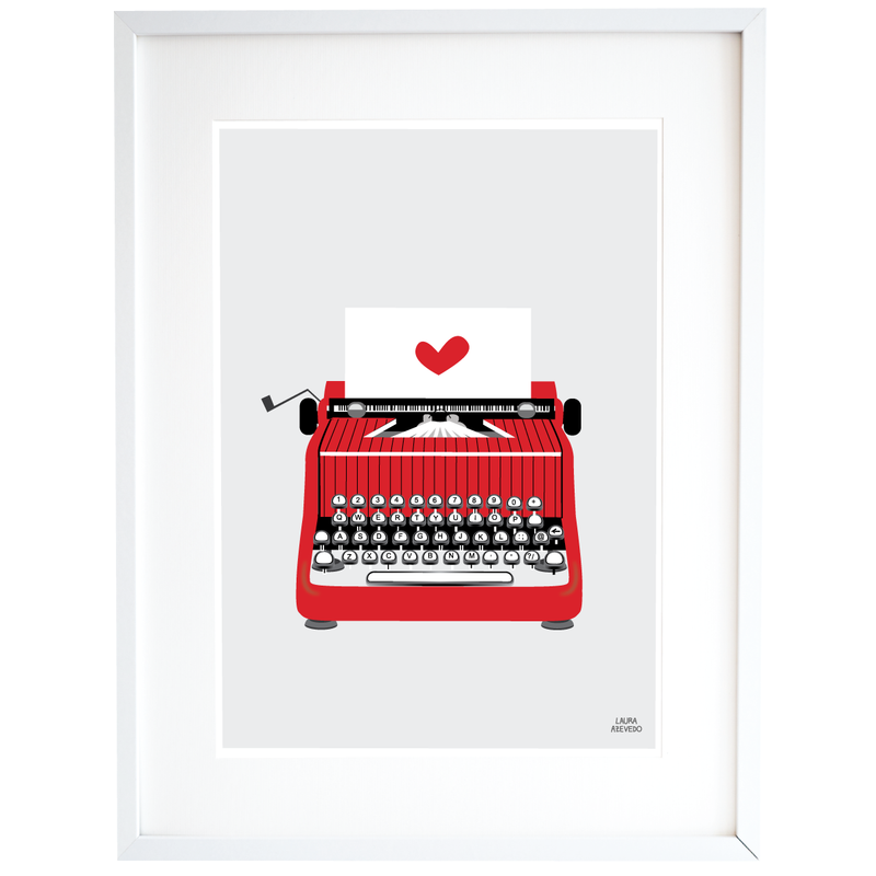 Red Typewriter Print Illustration Home Decor in A4 and A3