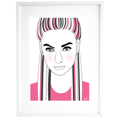 Women with Pink T-shirt Illustration Print in A4 and A3