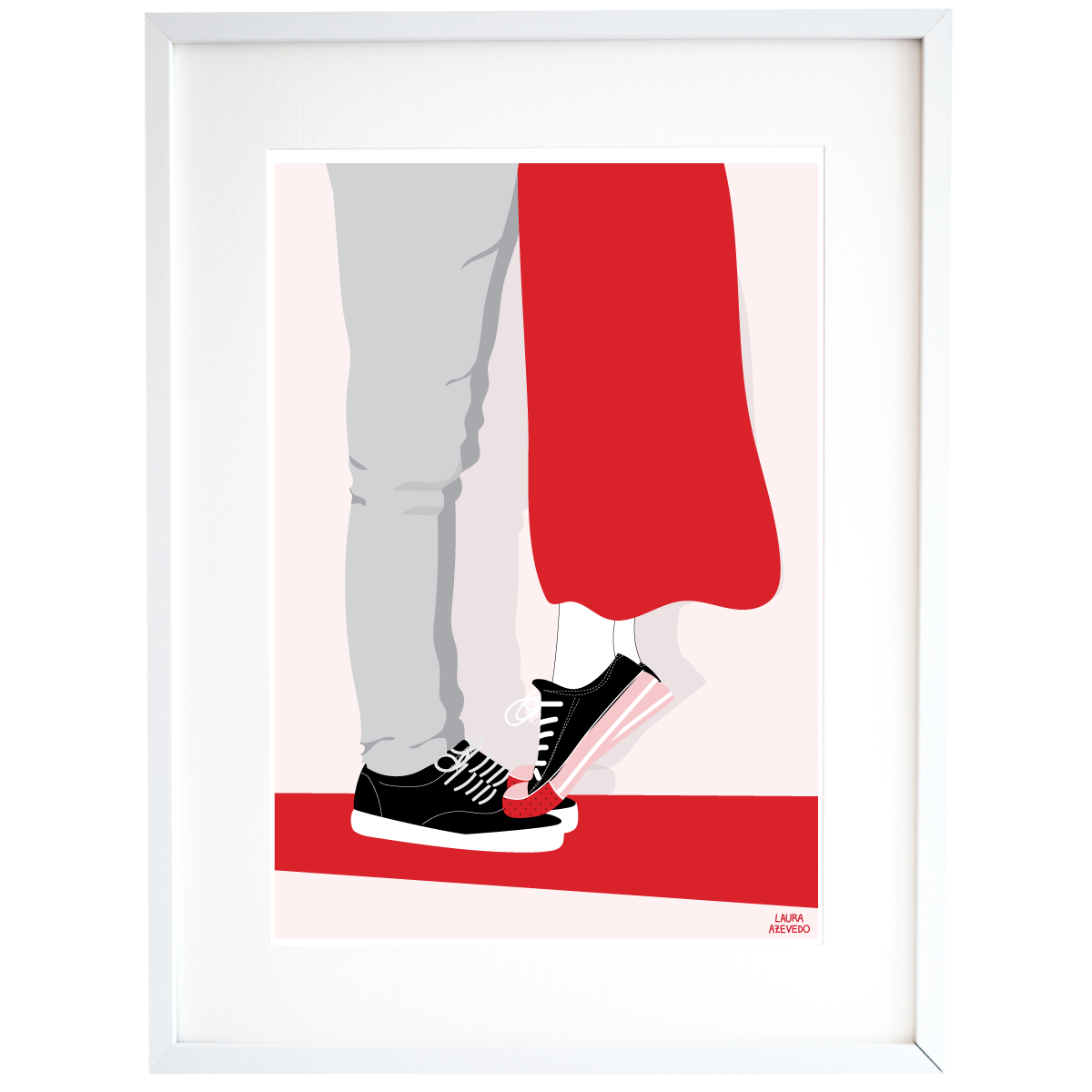 Young Couple Kiss Print Illustration in A4 and A3