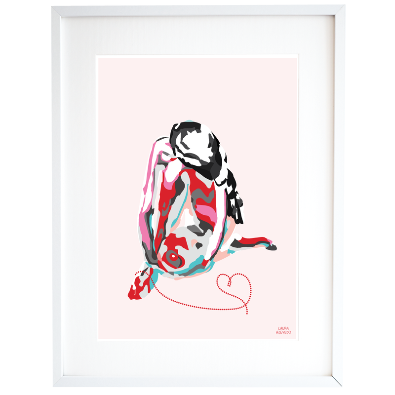 Women Illustration Print in Pink Red Turquoise A4 and A3 - Home Decor