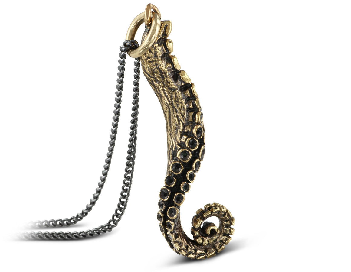 Tentacle Necklace in Bronze - shown on gunmetal chain