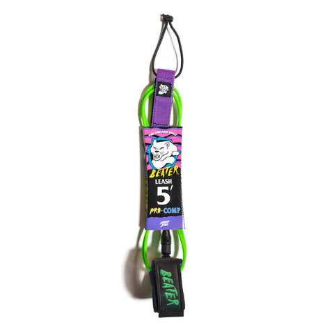 Catch Surf - Catch Surf - Beater Pro Comp 5' Leash - Green/Purple - Products - The Mysto Spot