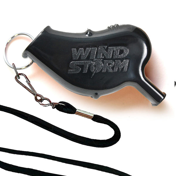 Storm Whistles - Storm Whistles - The Windstorm - Black + Lanyard - Products - The Mysto Spot