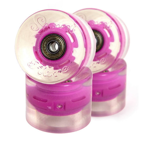 Sunset Skateboards - Sunset Skateboards - Flare LED Wheels - 59mm Cruiser ~ Pink - Products - The Mysto Spot