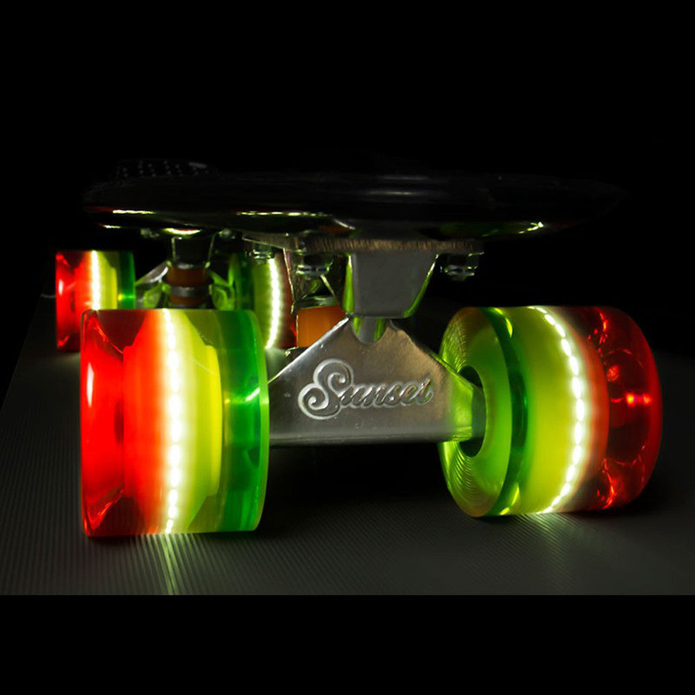 Sunset Skateboards - Sunset Skateboards - Flare LED Wheels - 59mm Cruiser ~ Rasta - Products - The Mysto Spot