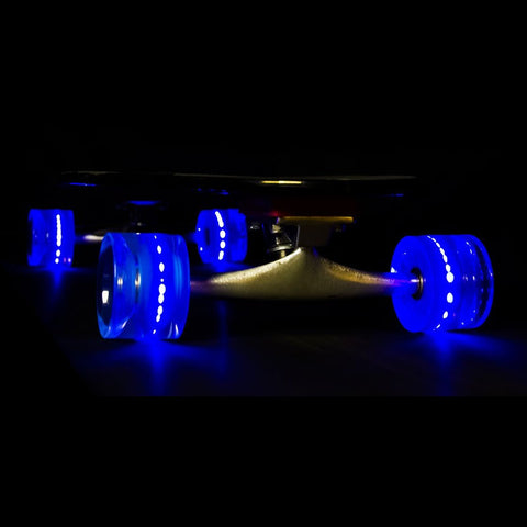 Sunset Skateboards - Flare LED Wheels - 65mm Longboard ~ Blue
