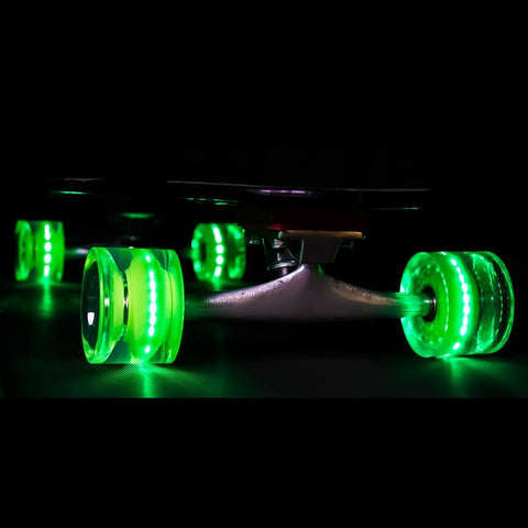 Sunset Skateboards - Flare LED Wheels - 65mm Longboard ~ Green
