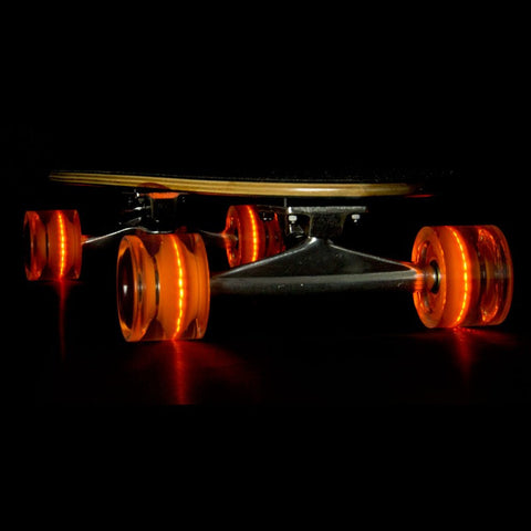 Sunset Skateboards - Flare LED Wheels - 65mm Longboard ~ Orange