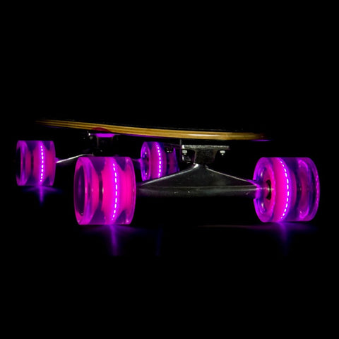 Sunset Skateboards - Flare LED Wheels - 65mm Longboard ~ Pink