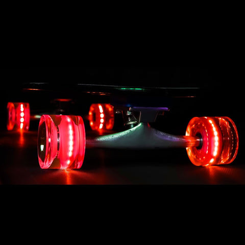 Sunset Skateboards - Flare LED Wheels - 65mm Longboard ~ Red