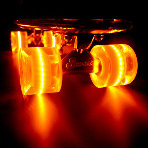 Sunset Skateboards - Sunset Skateboards - Flare LED Wheels - 59mm Cruiser ~ Orange - Products - The Mysto Spot