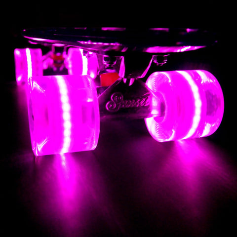 Sunset Skateboards - Flare LED Wheels - 59mm Cruiser ~ Pink