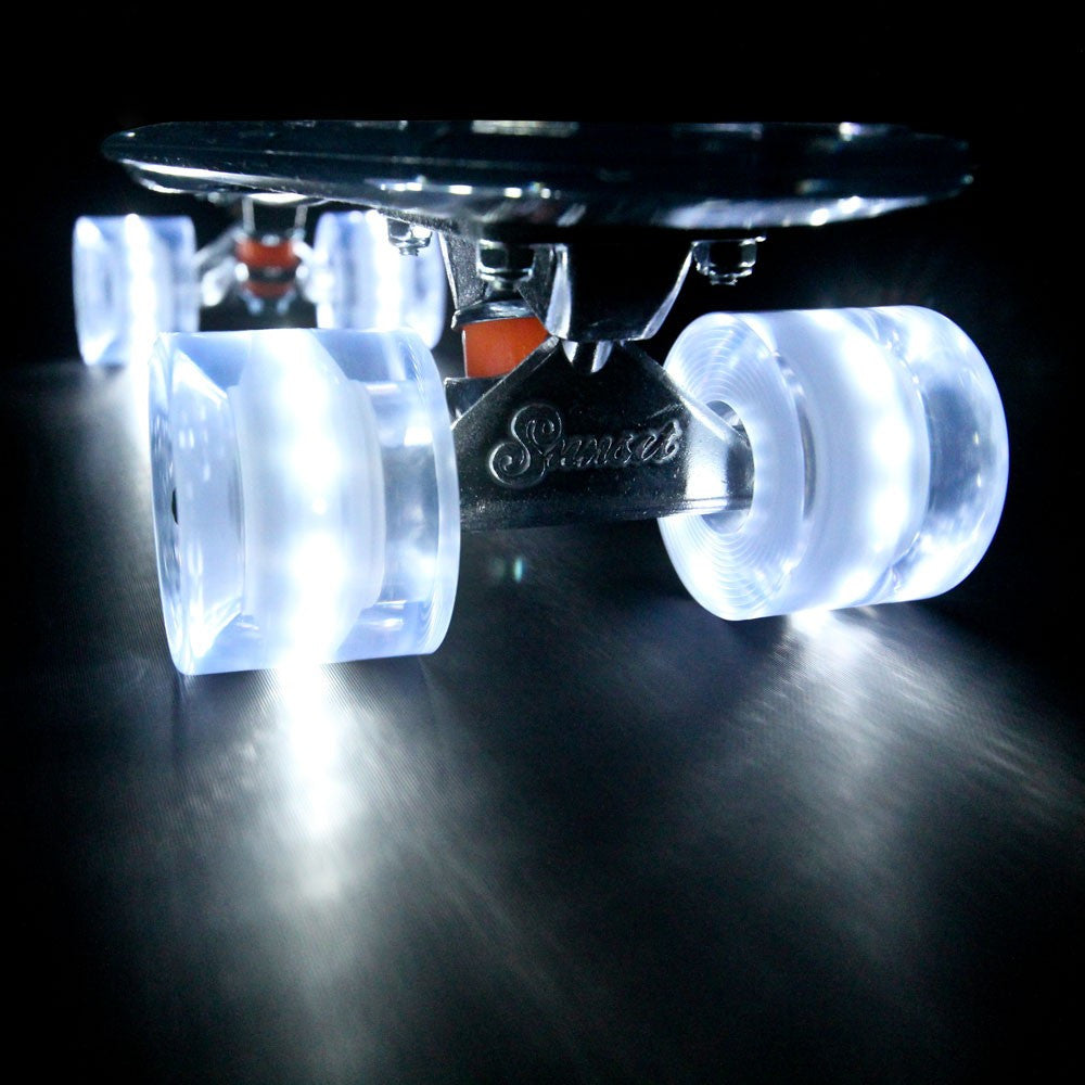 Sunset Skateboards - Sunset Skateboards - Flare LED Wheels - 59mm Cruiser ~ White - Products - The Mysto Spot