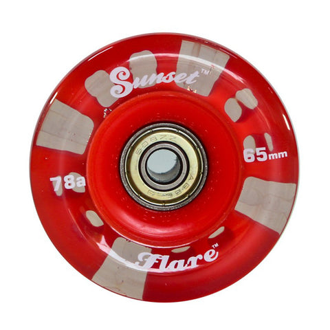 Sunset Skateboards - Sunset Skateboards - Flare LED Wheels - 65mm Longboard (round) ~ Red - Products - The Mysto Spot