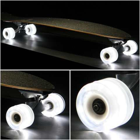 Sunset Skateboards - Sunset Skateboards - Flare LED Wheels - 65mm Longboard (round) ~ White - Products - The Mysto Spot