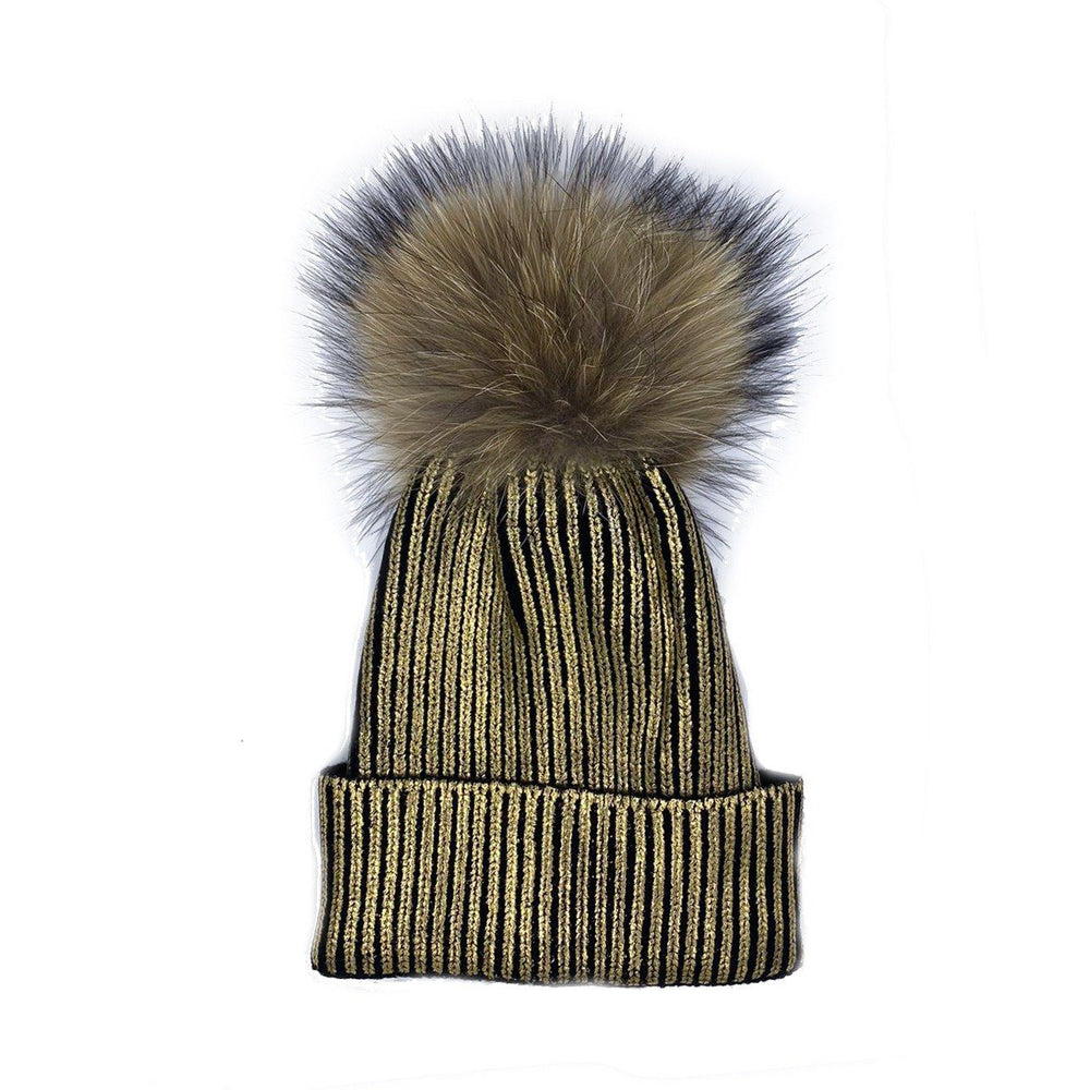 Load image into Gallery viewer, Metalic Stamp Hat Winter Hat Manière Child Gold