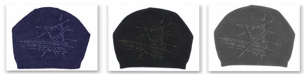 Slouch Embellished Beanie with Choice of Pom Winter Hat Manière