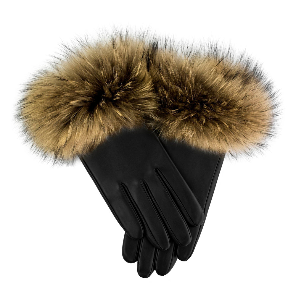 Load image into Gallery viewer, Raccoon-Fur-Leather-Glove Premium Fur Manière Natural