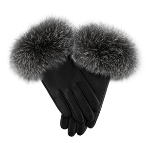 Load image into Gallery viewer, Raccoon-Fur-Leather-Glove Premium Fur Manière Grey