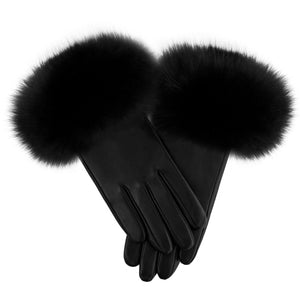 Load image into Gallery viewer, Raccoon-Fur-Leather-Glove Premium Fur Manière Black