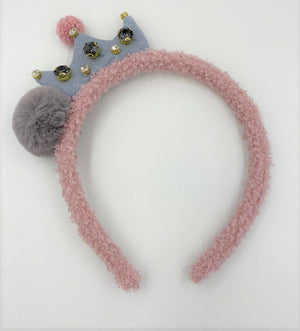 Load image into Gallery viewer, Fur Crown Pom Headband Headband Maniere Accessories