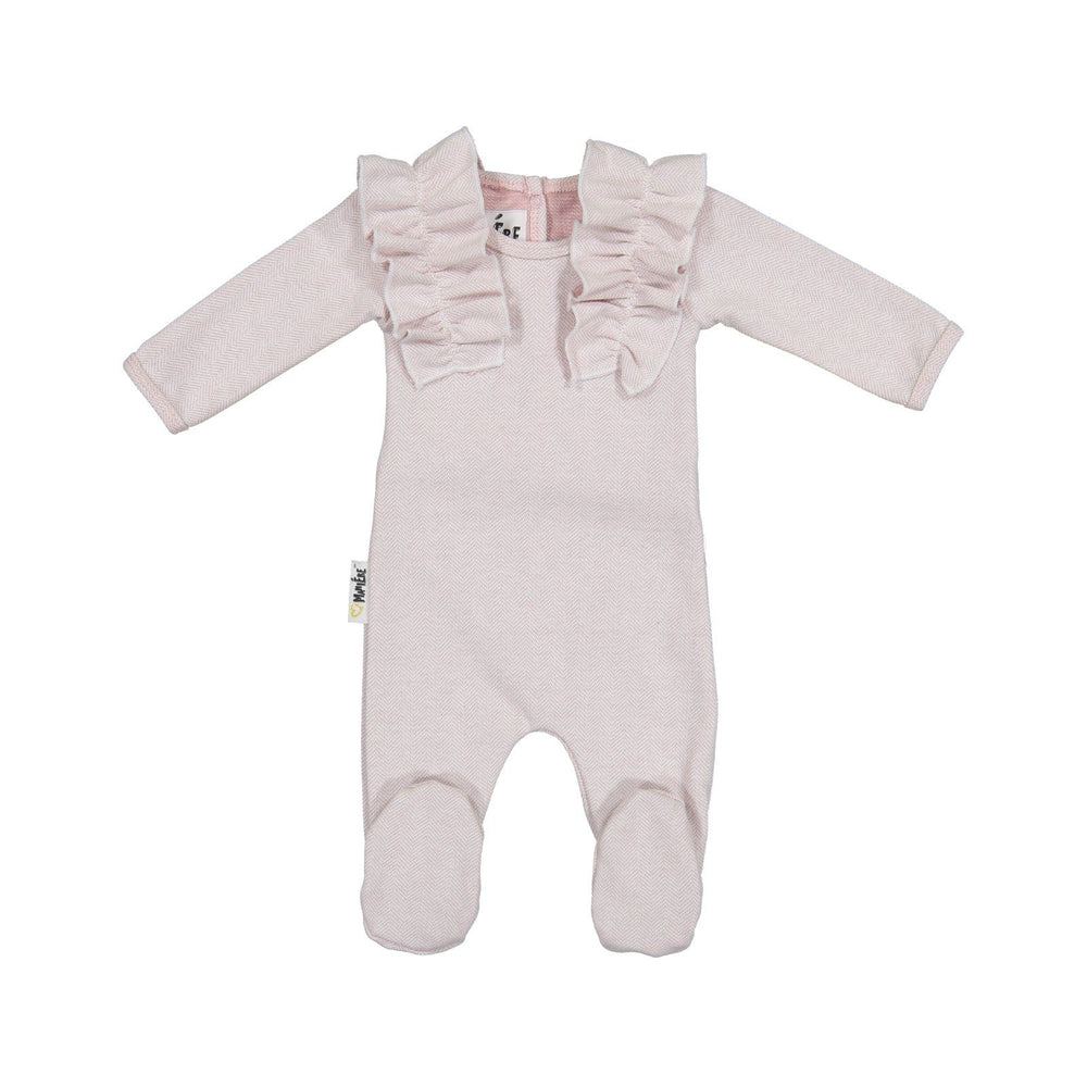 Load image into Gallery viewer, Herringbone Ruffle Footie Baby Footies Maniere Accessories Mauve 3 Months