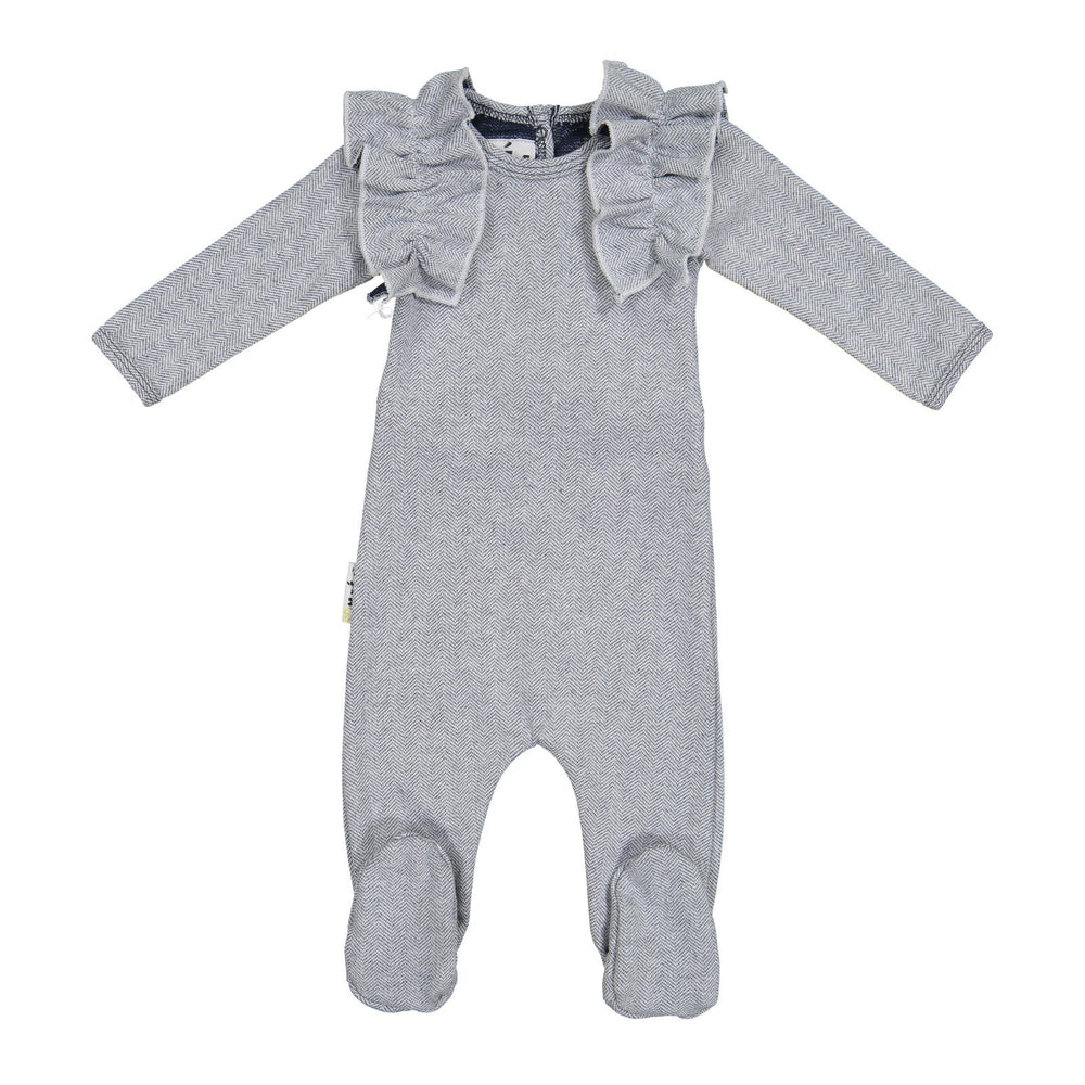 Load image into Gallery viewer, Herringbone Ruffle Footie Baby Footies Maniere Accessories Navy 3 Months
