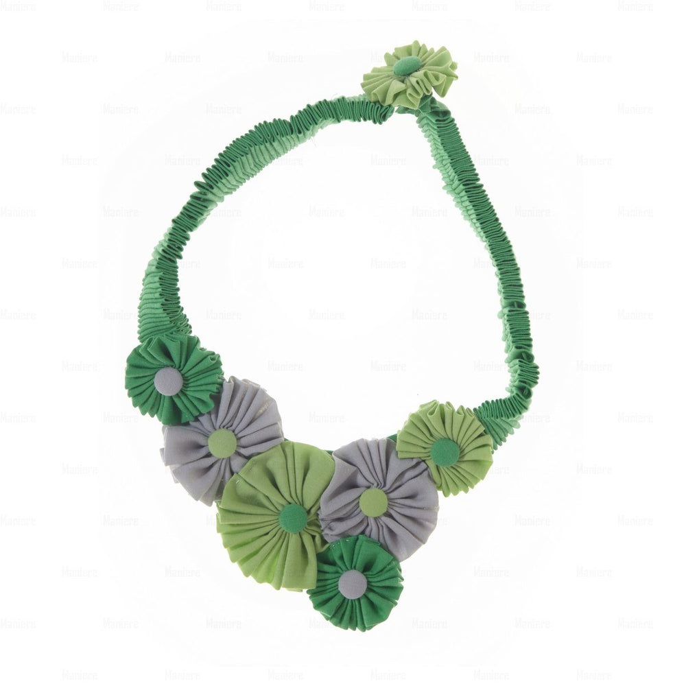 Accordion-Flower-Necklace Necklace Manière Green COMBO