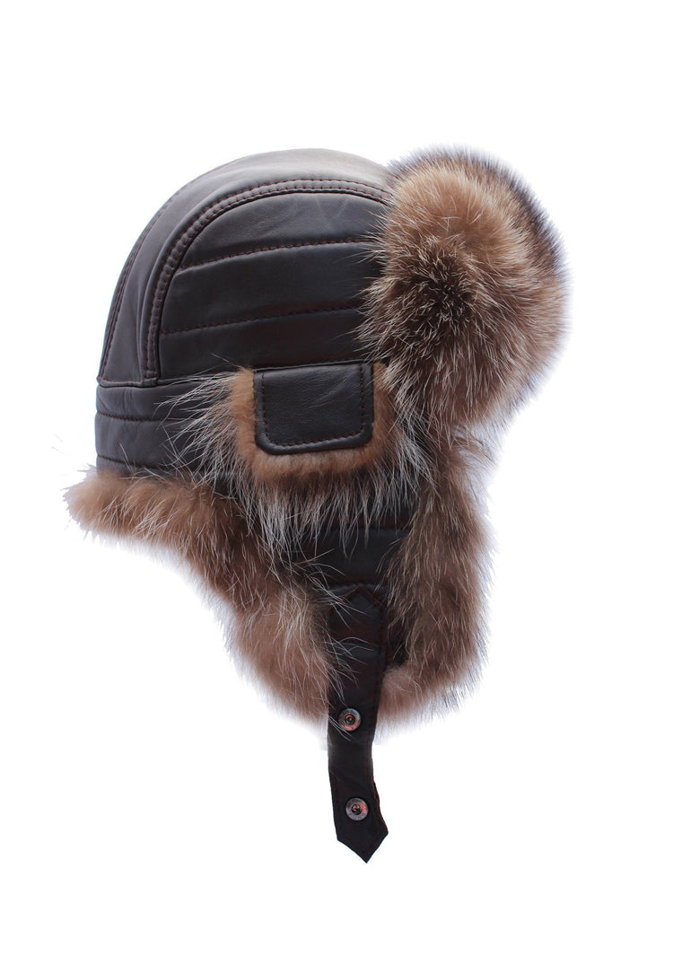 Premium American Raccoon Fur with Fine Leather Trapper Hat