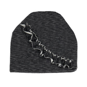 Load image into Gallery viewer, Angled Ruffle Beanie (no pom) Maniere Accessories Black XS