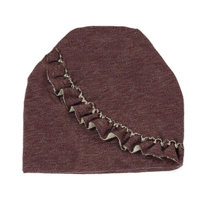 Load image into Gallery viewer, Angled Ruffle Beanie (no pom) Maniere Accessories Burgundy XS