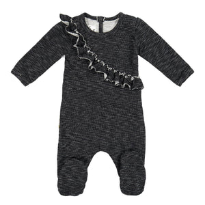 Angled Ruffle Footie Maniere Accessories Black 3 Month