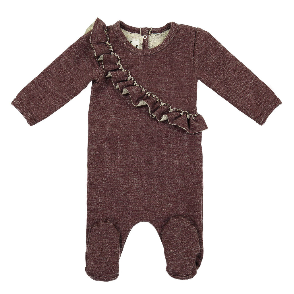 Angled Ruffle Footie Maniere Accessories Burgundy 3 Month