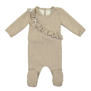 Angled Ruffle Footie Maniere Accessories Mauve 3 Month