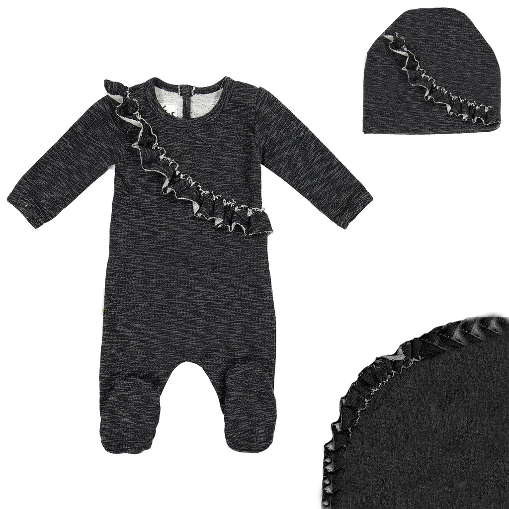 Angled Ruffle Footie Set Maniere Accessories Black 3 Month