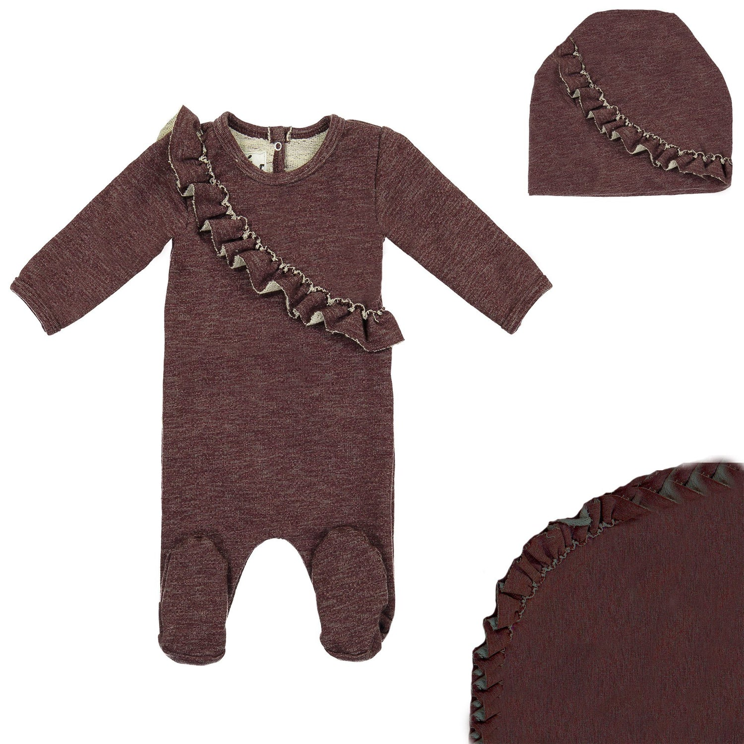 Angled Ruffle Footie Set Maniere Accessories Burgundy 3 Month