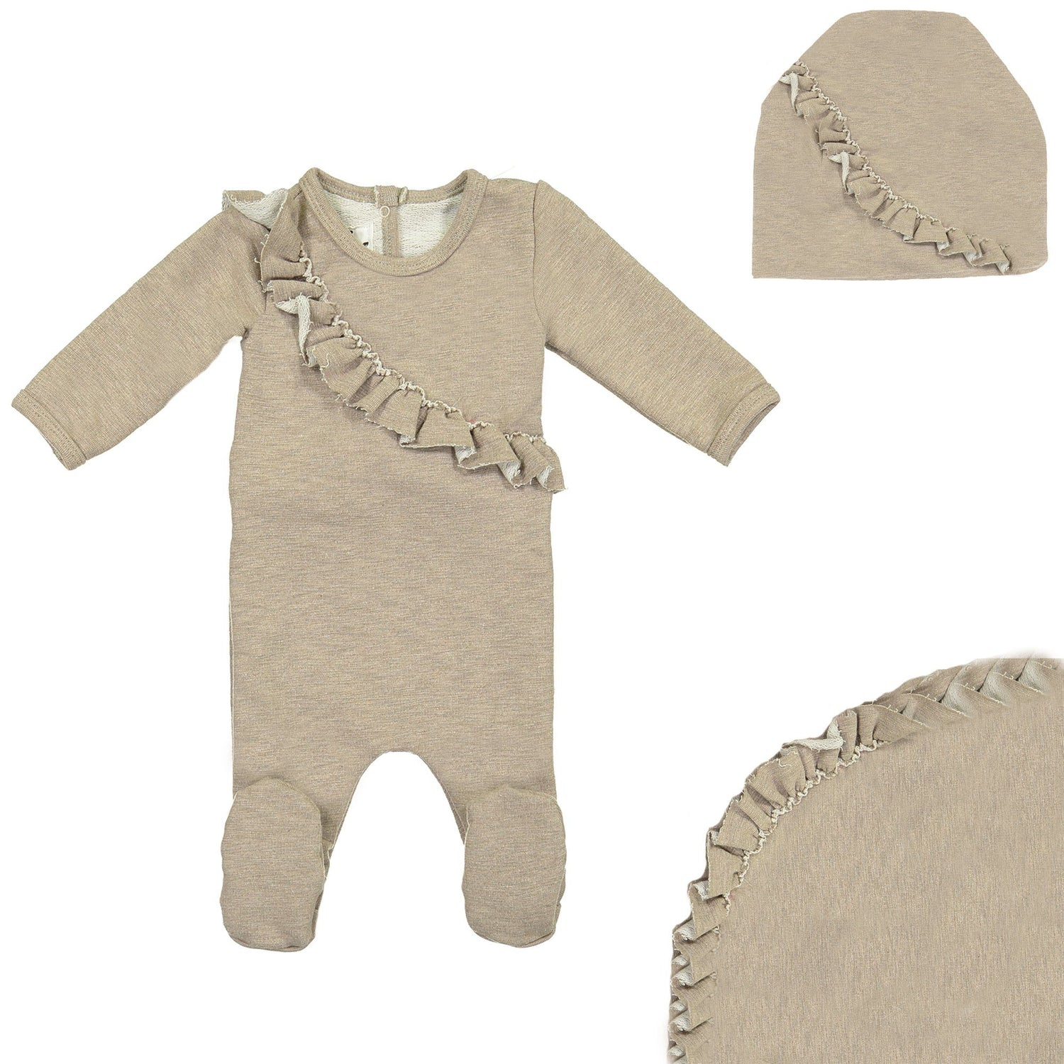 Angled Ruffle Footie Set Maniere Accessories Mauve 3 Month