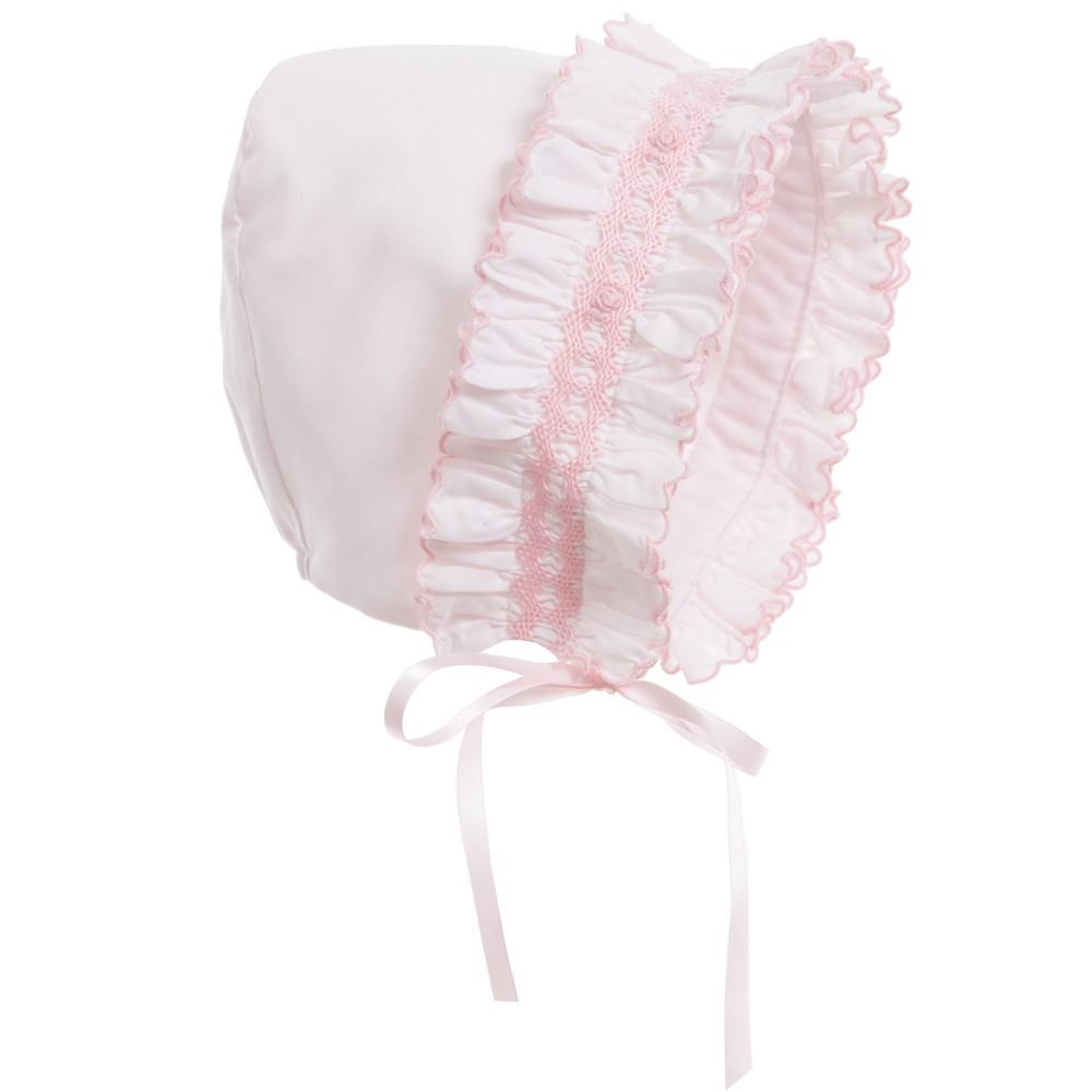 Load image into Gallery viewer, Smock Baby Bonnet Baby Bonnet Manière Pink Small (1m-6m)