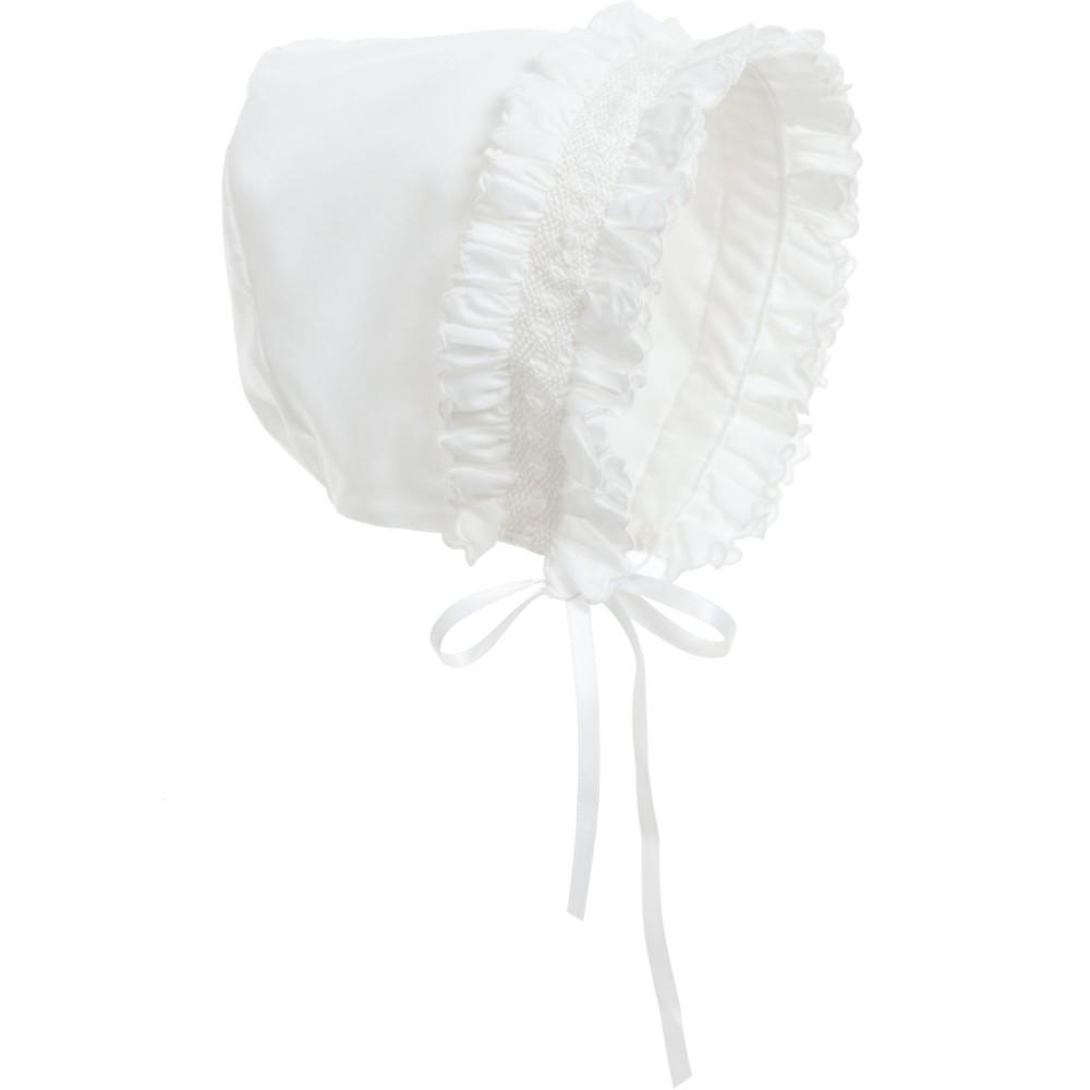 Load image into Gallery viewer, Smock Baby Bonnet Baby Bonnet Manière White Small (1m-6m)
